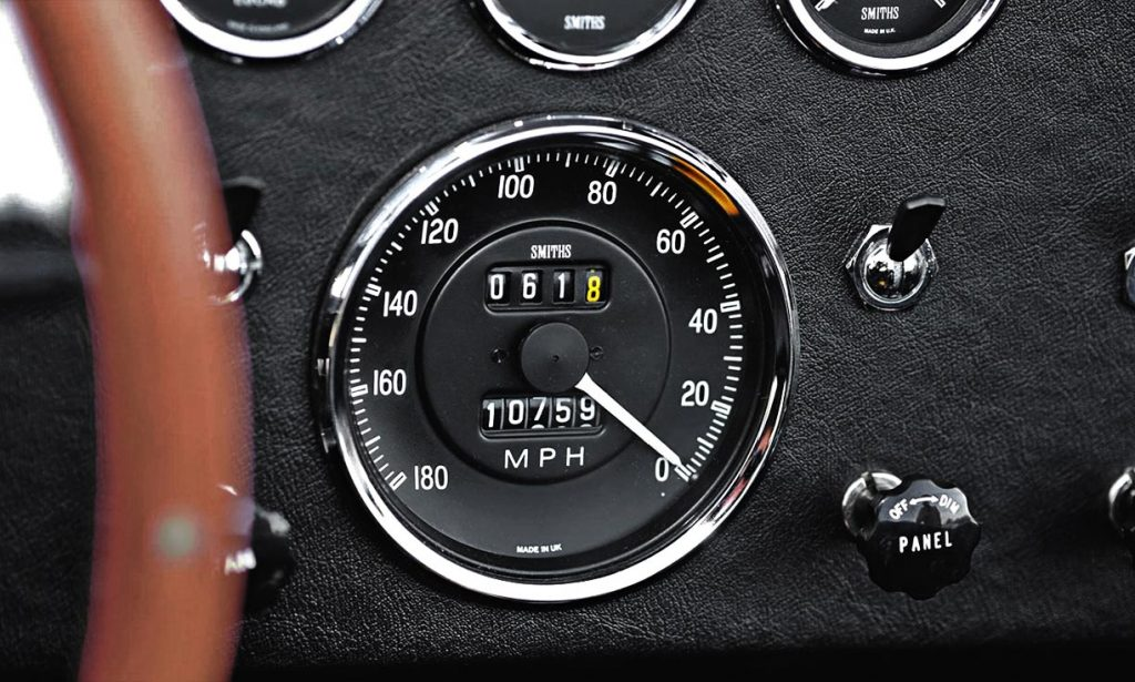 speedometer closeup photo of Sunset Red Superformance 427SC Cobra for sale by owner, SPO2198