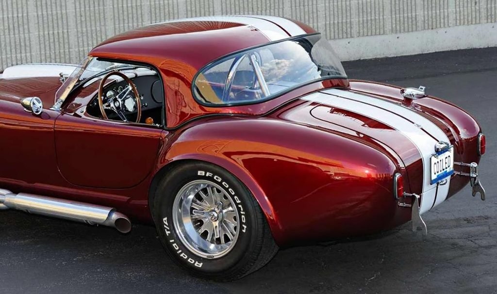 rear-quarterview shot#1 (showing the hard top) of Sunset Red Superformance 427SC Cobra for sale, SPO2198