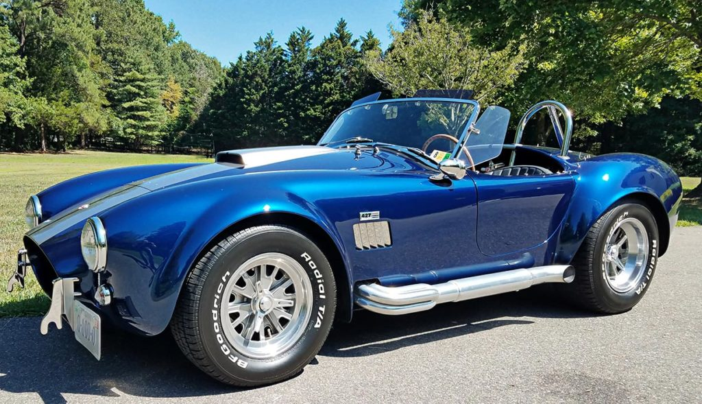 3/4-frontal (driver side) shot of Indigo Blue Superformance 427SC Shelby classic Cobra for sale, SPO2666