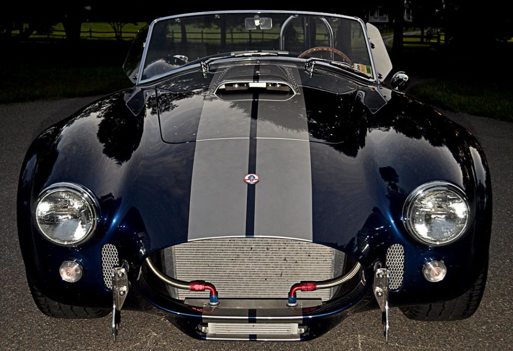 head-on frontal twilight shot#2 of Indigo Blue Superformance 427SC Shelby classic Cobra for sale, SPO2666