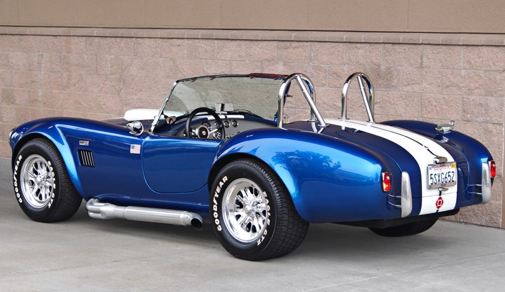 3/4-rear shot (driver side) of Pearl Blue classic 1965 Shelby Cobra vehicle, built by B&B/LA Exotics, for sale by owner