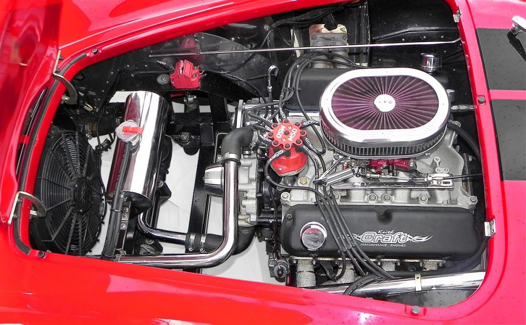 engine photo#1 (driver side) of Keith Craft Inc. 408 cid/530 horsepower V8 in Salsa Red Backdraft Racing 427SC Cobra for sale, BDR722