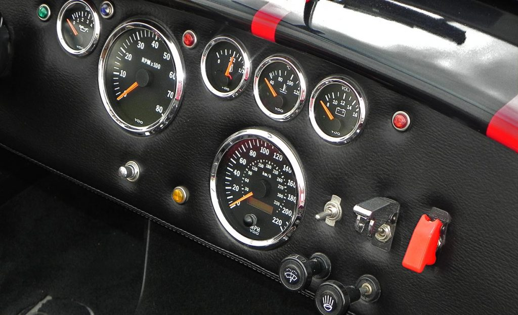dashboard shot of Salsa Red Backdraft Racing 427SC Cobra for sale, BDR722