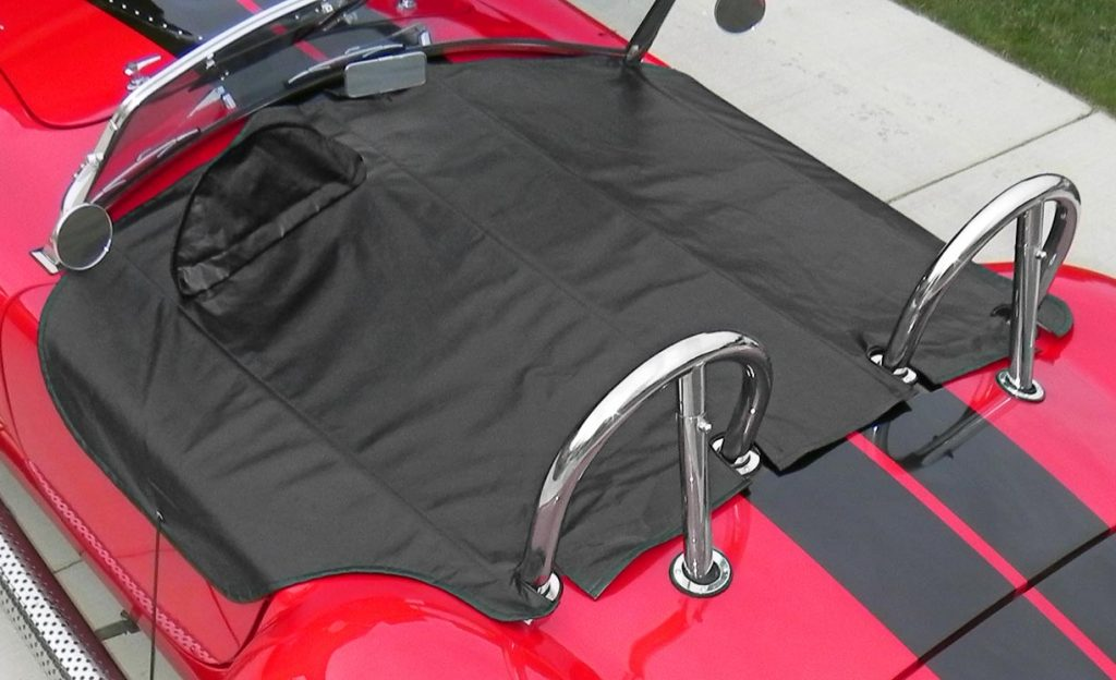 shot of custom tonneau cover installed on Salsa Red Backdraft Racing 427SC Cobra for sale, BDR722