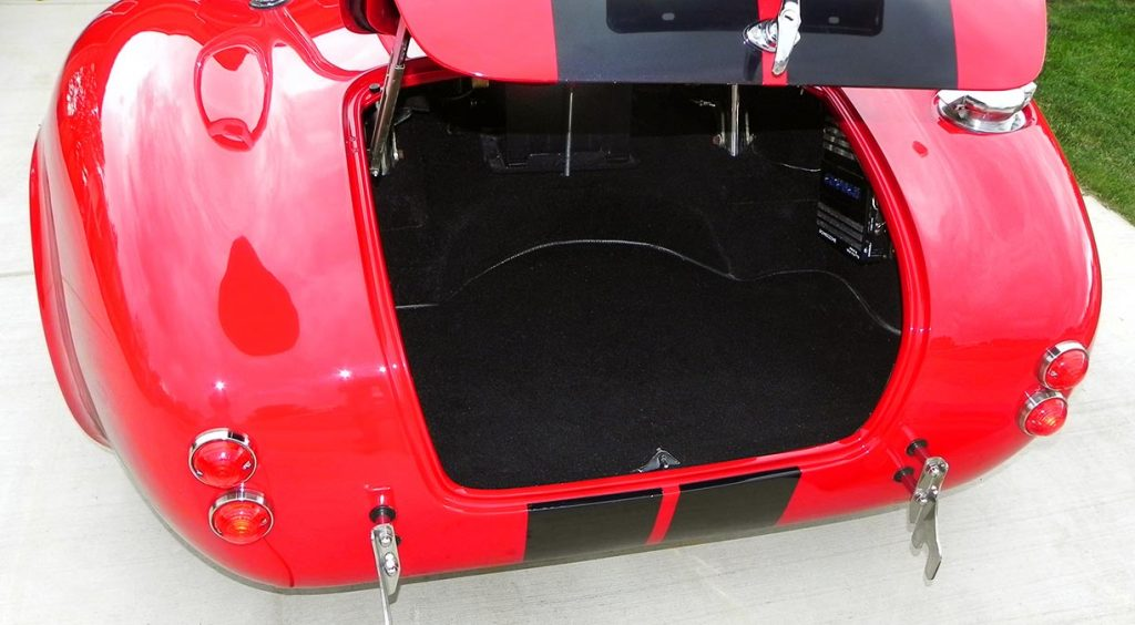 shot of luggage compartment in Salsa Red Backdraft Racing 427SC Cobra for sale, BDR722