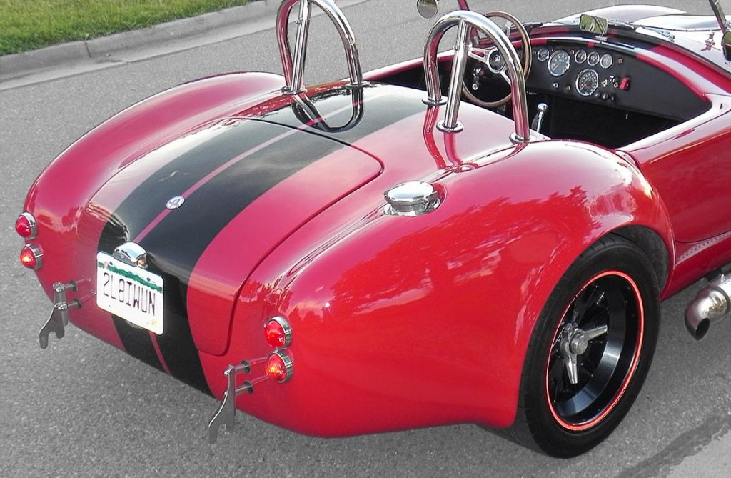 rear-quarterview shot (passenger side) of Salsa Red Backdraft Racing 427SC Cobra for sale, BDR722
