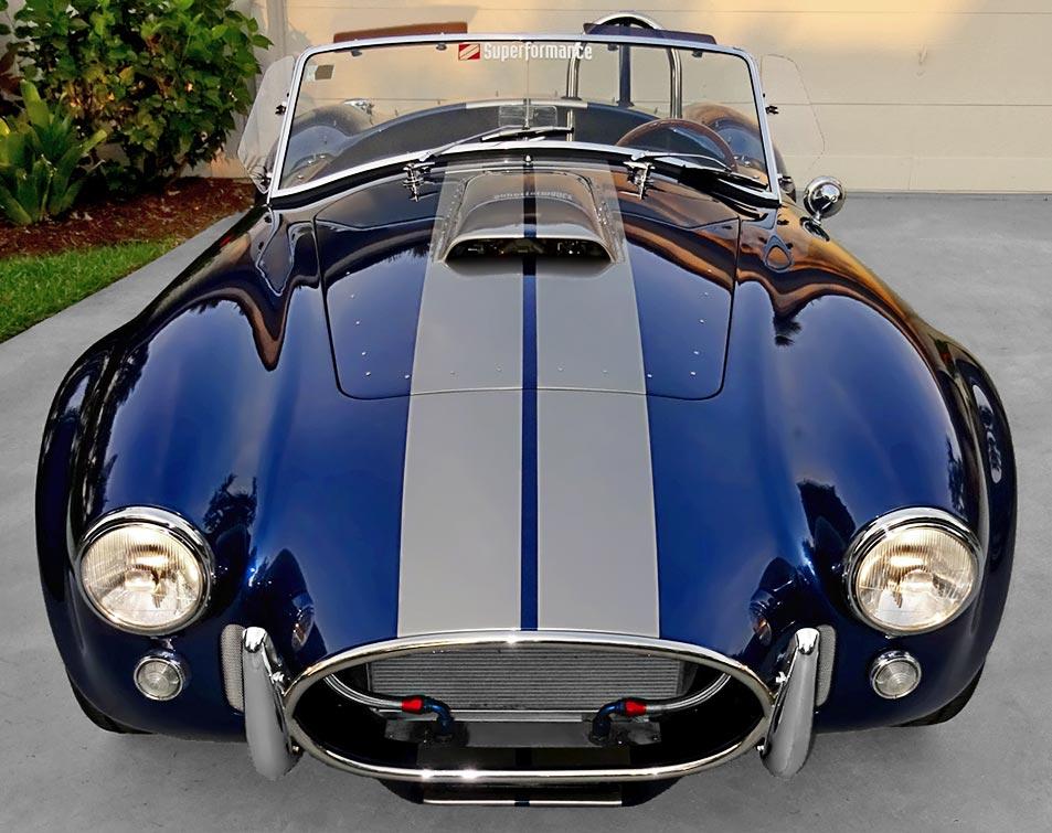 head-on frontal shot of Indigo Blue/Titanium stripes Superformance 427SC Cobra for sale, SPO1538