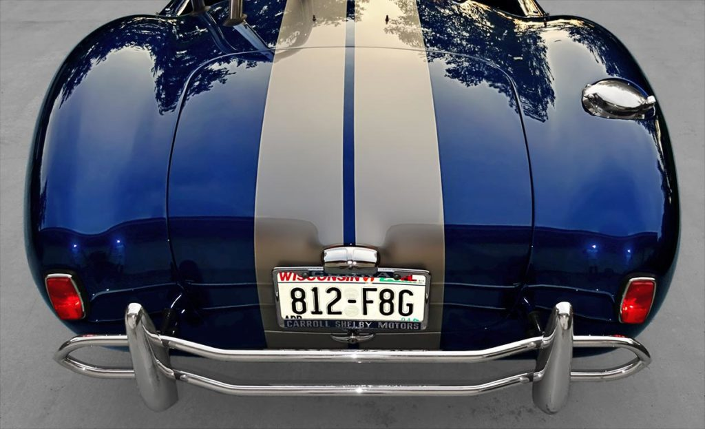 rear shot of Indigo Blue/Titanium stripes Superformance 427SC Cobra for sale, SPO1538