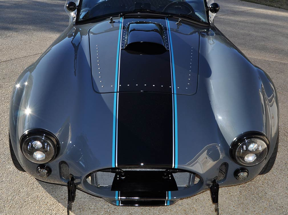 head-on frontal photo#1 of Porsche Graphite Blue Metallic Backdraft Racing GT Wide body 427SC Shelby classic Cobra replica for sale, BDR1758
