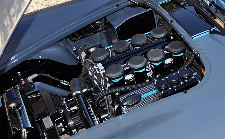 Keith Craft 427 engine (Windsor stroker) photo#2 of Porsche Graphite Blue Metallic Backdraft Racing GT Wide body 427SC Shelby classic Cobra replica for sale, BDR1758