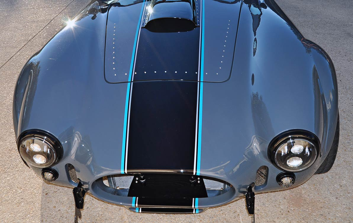 head-on frontal photo#2 of Porsche Graphite Blue Metallic Backdraft Racing GT Wide body 427SC Shelby classic Cobra replica for sale, BDR1758