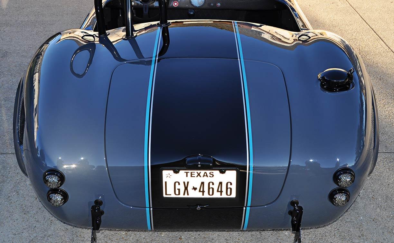 rear shot of Porsche Graphite Blue Metallic Backdraft Racing GT Wide body 427SC Shelby classic Cobra replica for sale, BDR1758