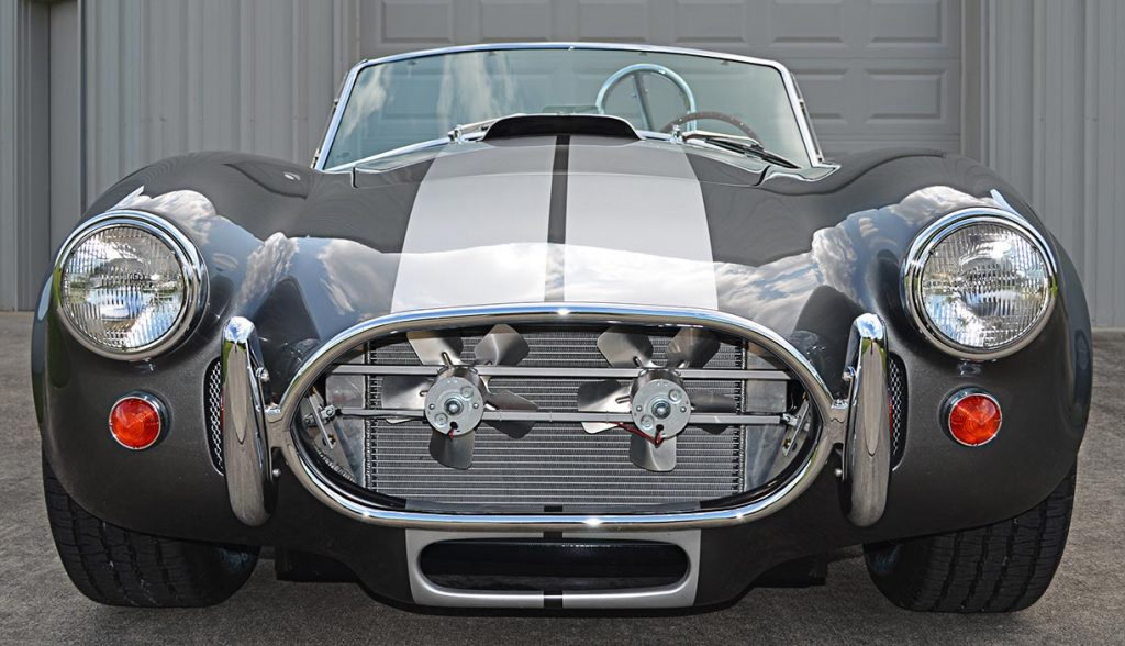 head-on frontal shot#1 of Sterling Gray/silver stripes Unique Motorcars 427SC Shelby classic Cobra for sale by owner