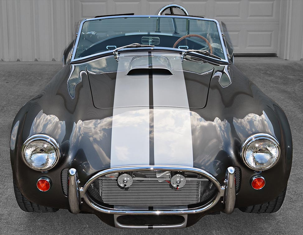 head-on frontal shot#2 of Sterling Gray/silver stripes Unique Motorcars 427SC Shelby classic Cobra for sale by owner