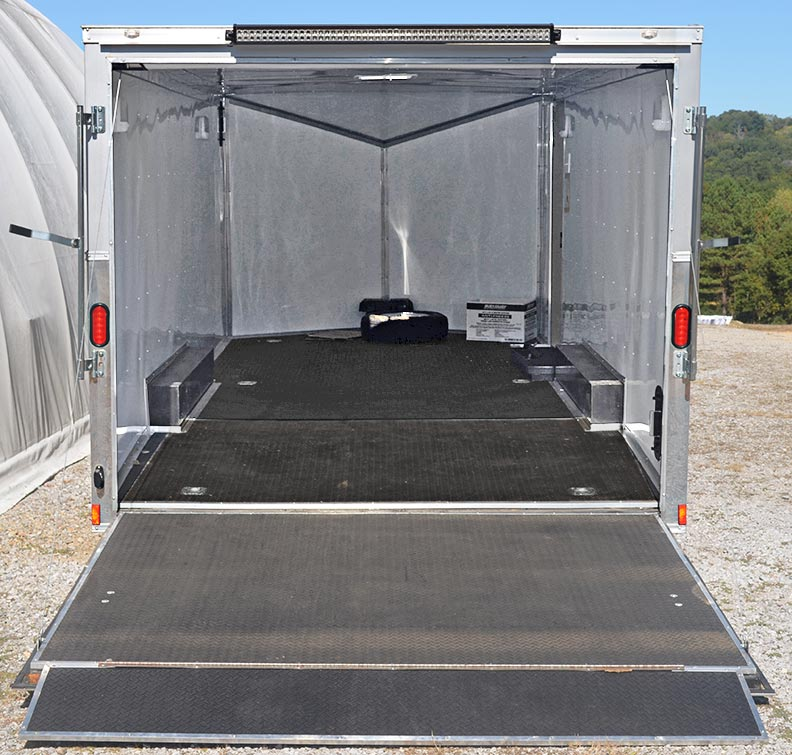 Wow enclosed cargo trailer (interior shot) for Sterling Gray/silver stripes Unique Motorcars 427SC Shelby classic Cobra for sale by owner