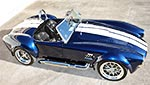 elevated broadside thumbnail image of Indigo Blue Backdraft Racing Shelby Cobra replica for sale, BDR1260