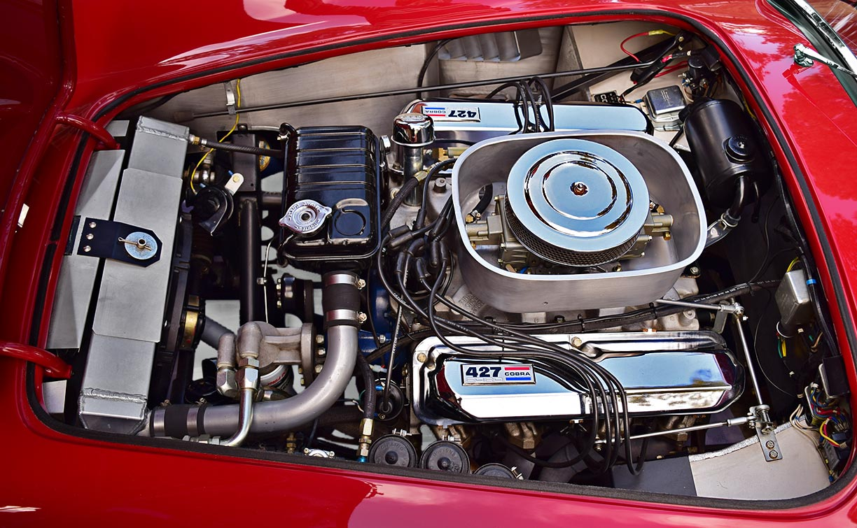 427 engine photo of Guards Red Shelby 427SC Shelby classic Cobra for sale, CSX4228