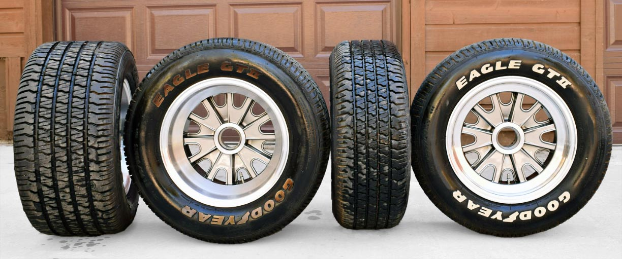 photo of spare set of wheels & tires on Guards Red Shelby 427SC Shelby classic Cobra for sale, CSX4228