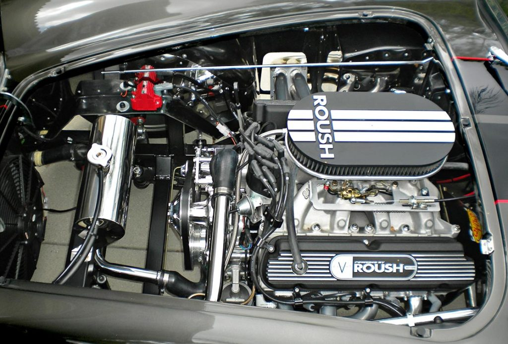 Roush 427R engine shot#1 (from driver side) of Royal Grey Backdraft Racing 427SC Shelby classic Cobra for sale, BDR1583