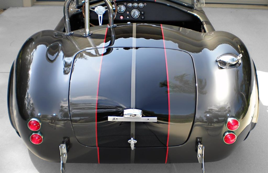 head-on rear shot#1 of Royal Grey Backdraft Racing 427SC Shelby classic Cobra for sale, BDR1583
