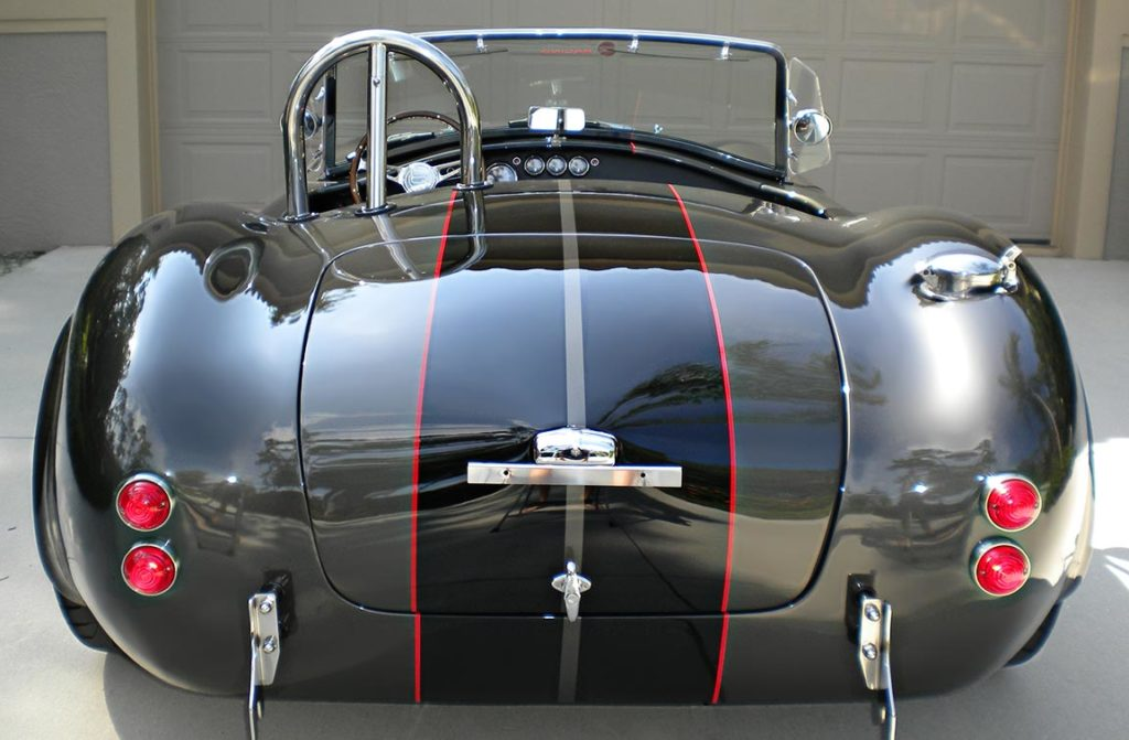head-on rear shot#2 of Royal Grey Backdraft Racing 427SC Shelby classic Cobra for sale, BDR1583