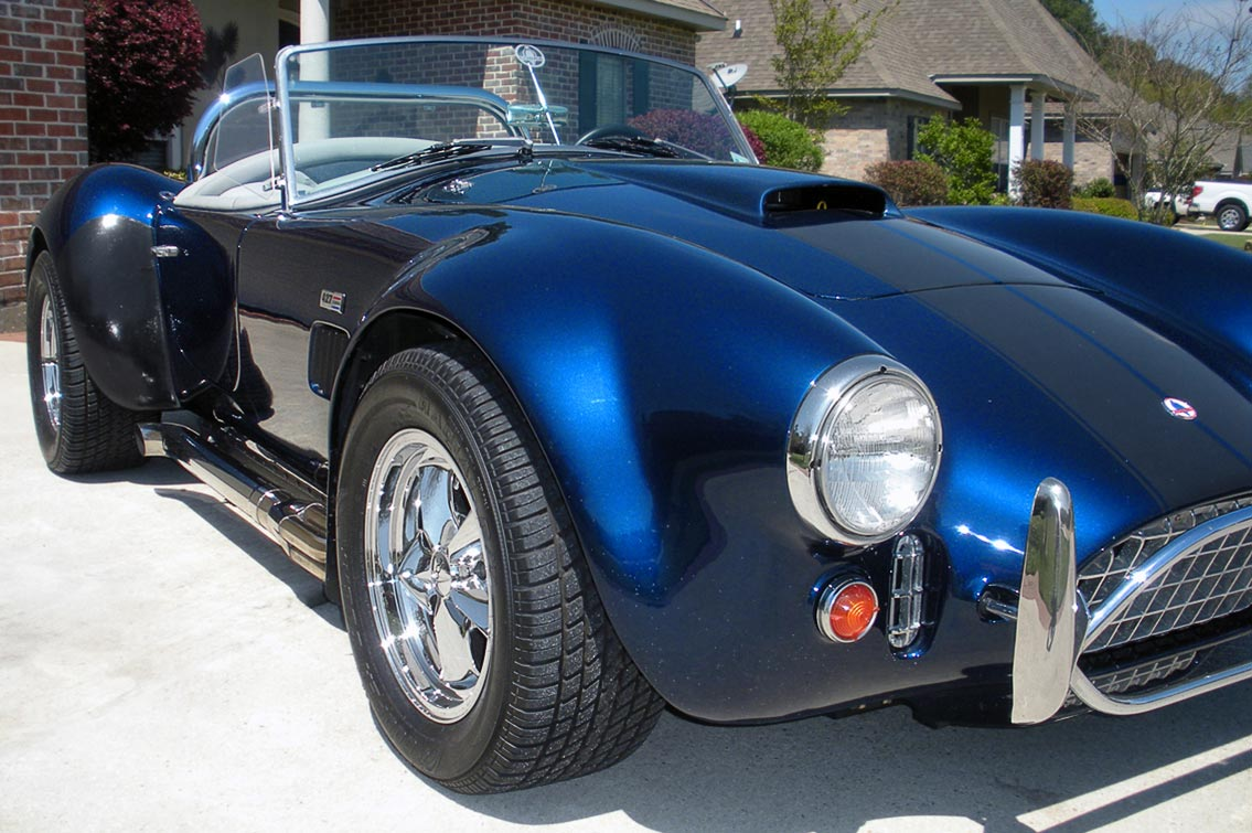 3/4-frontal photo#1 (passenger side shot) of Indigo Blue West Coast (Stallion-bodied) 427SC Shelby classic Cobra for sale by owner