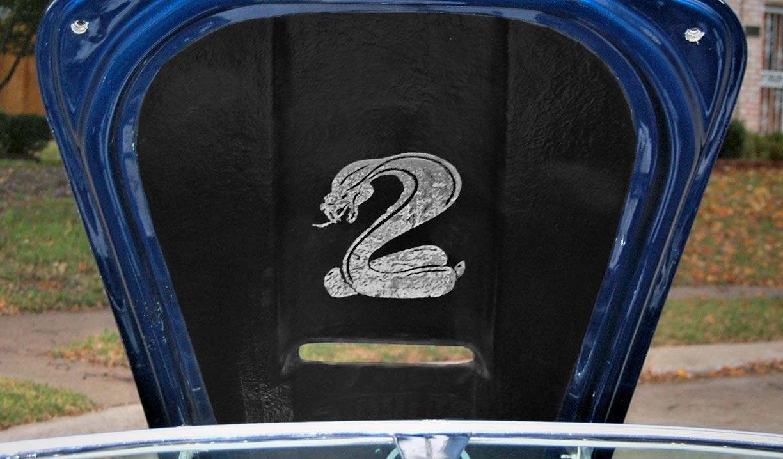 underhood artwork shot of Indigo Blue West Coast (Stallion-bodied) 427SC Shelby classic Cobra for sale by owner