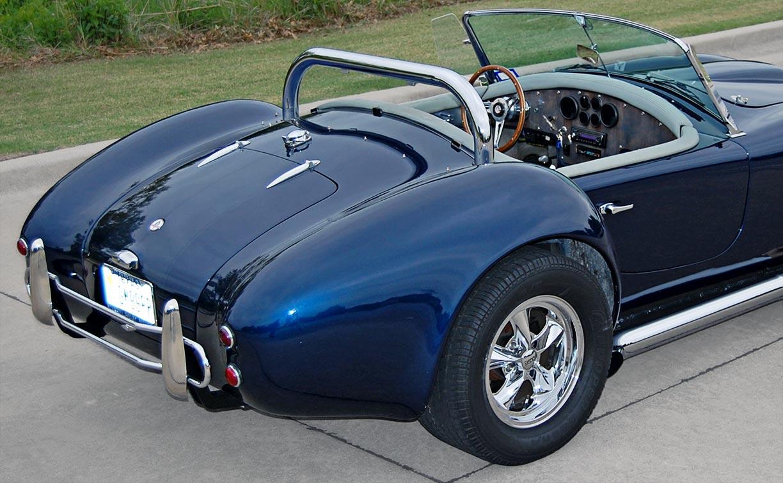 rear-quarter shot #1 (passenger side) of Indigo Blue West Coast (Stallion-bodied) 427SC Shelby classic Cobra for sale by owner