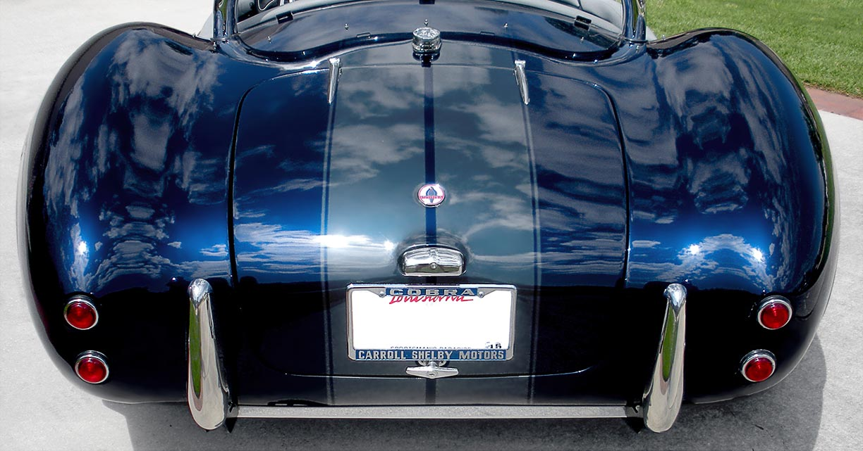 head-on rear shot of Indigo Blue West Coast (Stallion-bodied) 427SC Shelby classic Cobra for sale by owner