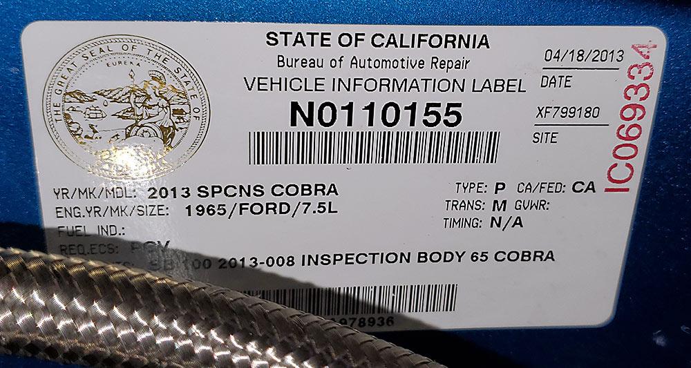 closeup photo of California SB-100 sticker on Guardsman Blue/Wimbledon White stripes West Coast Cobra, California SB-100, for sale