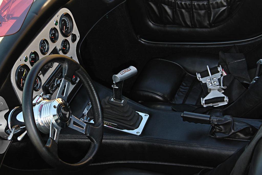 cockpit shot of Guardsman Blue/Wimbledon White stripes West Coast Cobra, California SB-100, for sale