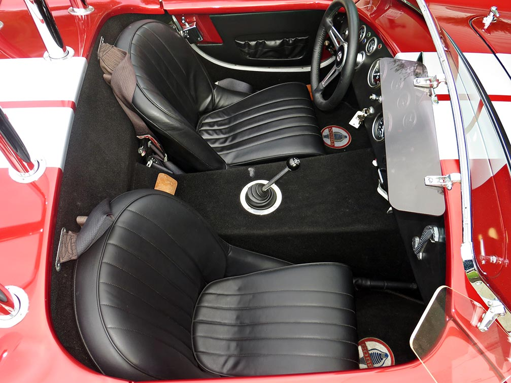 cockpit shot#1 (from passenger side) of metallic red Factory Five Racing MkII 427SC Shelby classic Cobra for sale