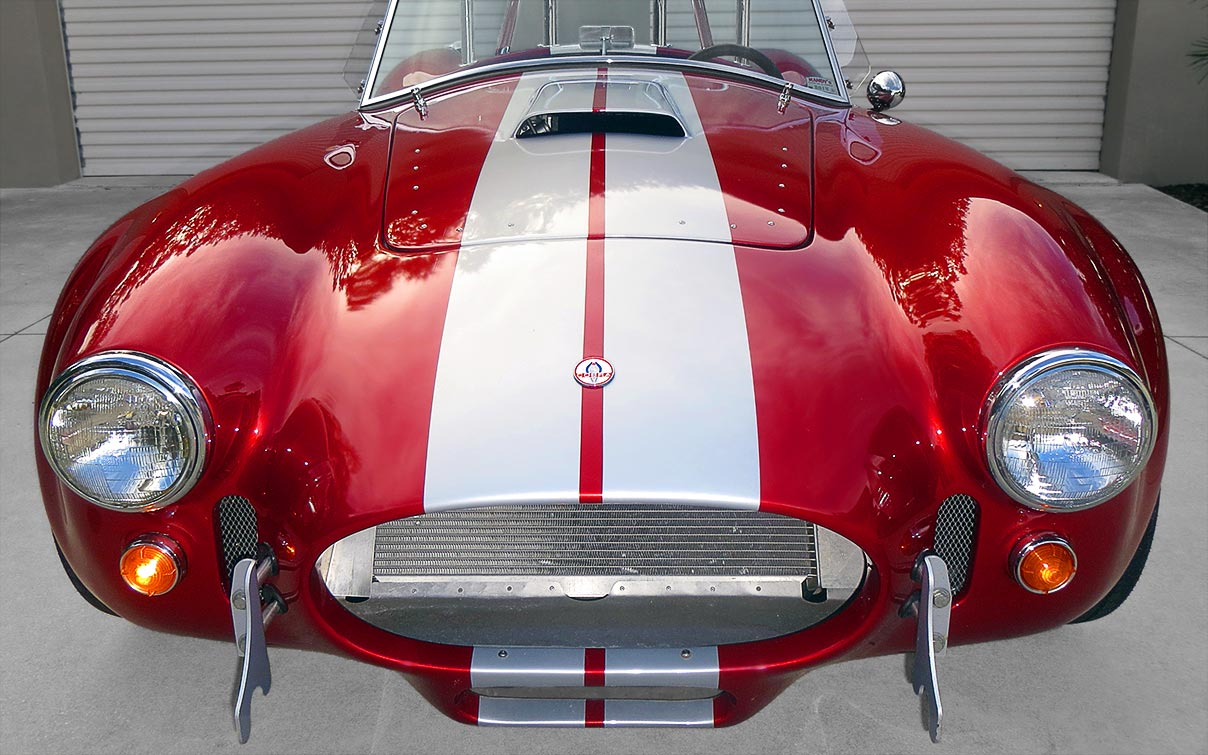 head-on frontal shot#1 of metallic red Factory Five Racing MkII 427SC Shelby classic Cobra for sale