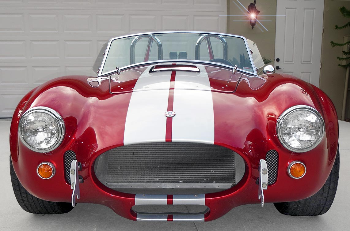 head-on frontal shot#2 of metallic red Factory Five Racing MkII 427SC Shelby classic Cobra for sale
