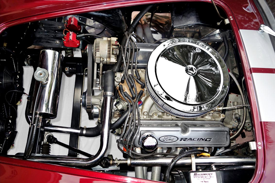 351 Ford Windsor engine photo (from driver side) of Prism Red 427SC Shelby classic Backdraft Cobra for sale by owner