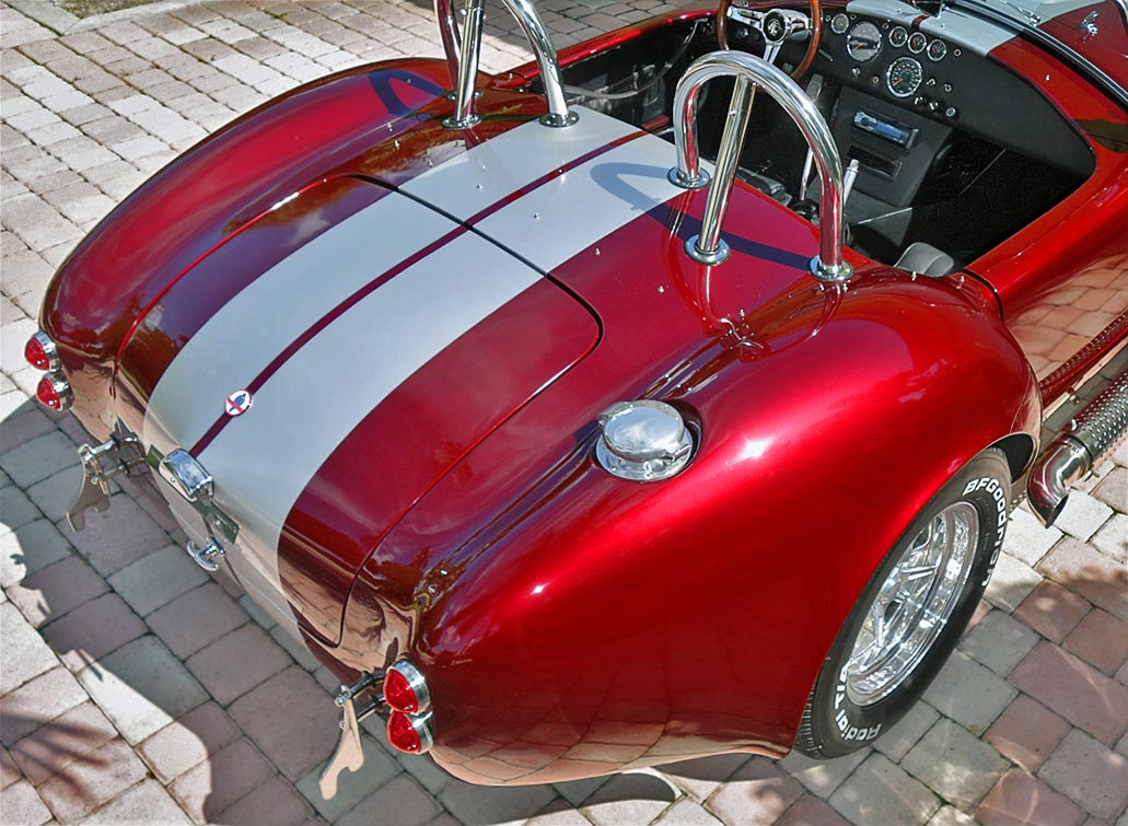rear-quarter shot#1 (aerial view) of Prism Red 427SC Shelby classic Backdraft Cobra for sale by owner