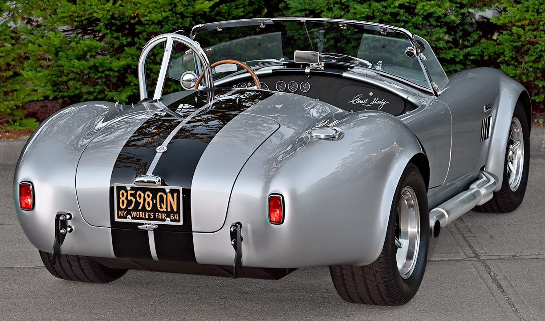 3/4-rear shot of Stuttgart Silver/black stripes 427SC Shelby classic Superformance Cobra (SPO1388 ) for sale by owner