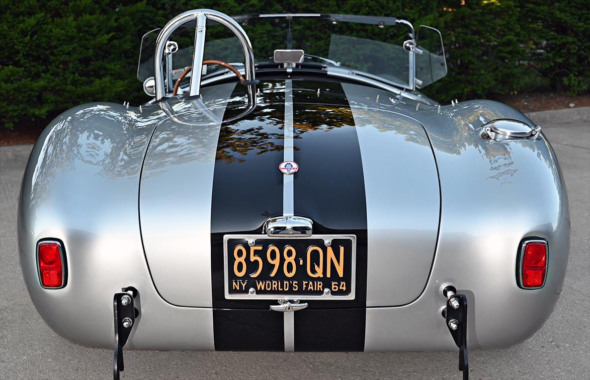 rear shot of Stuttgart Silver/black stripes 427SC Shelby classic Superformance Cobra (SPO1388 ) for sale by owner
