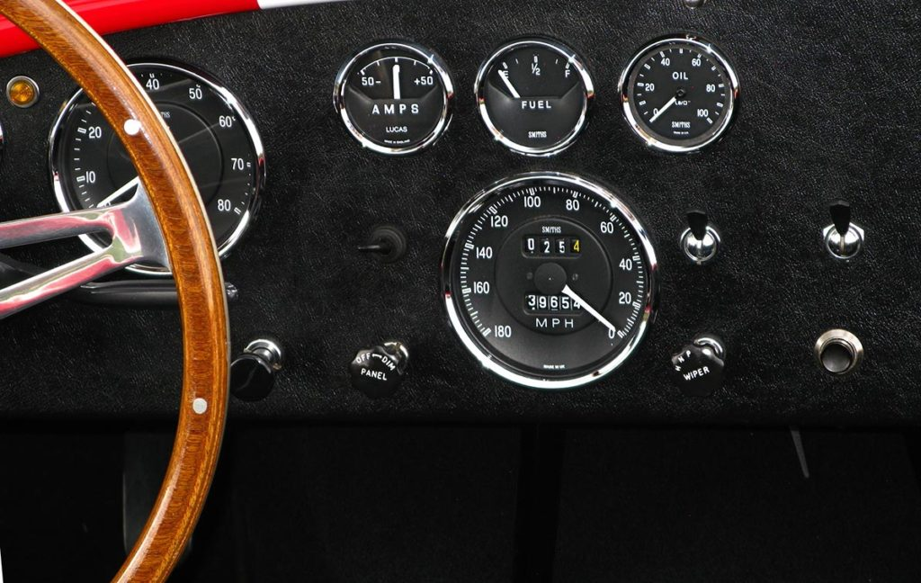 gauges & switches shot of Monza Red Superformance 427SC Cobra for sale by owner, SPO#0666