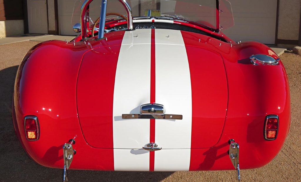 head-on rear shot of Monza Red Superformance 427SC Cobra for sale by owner, SPO#0666
