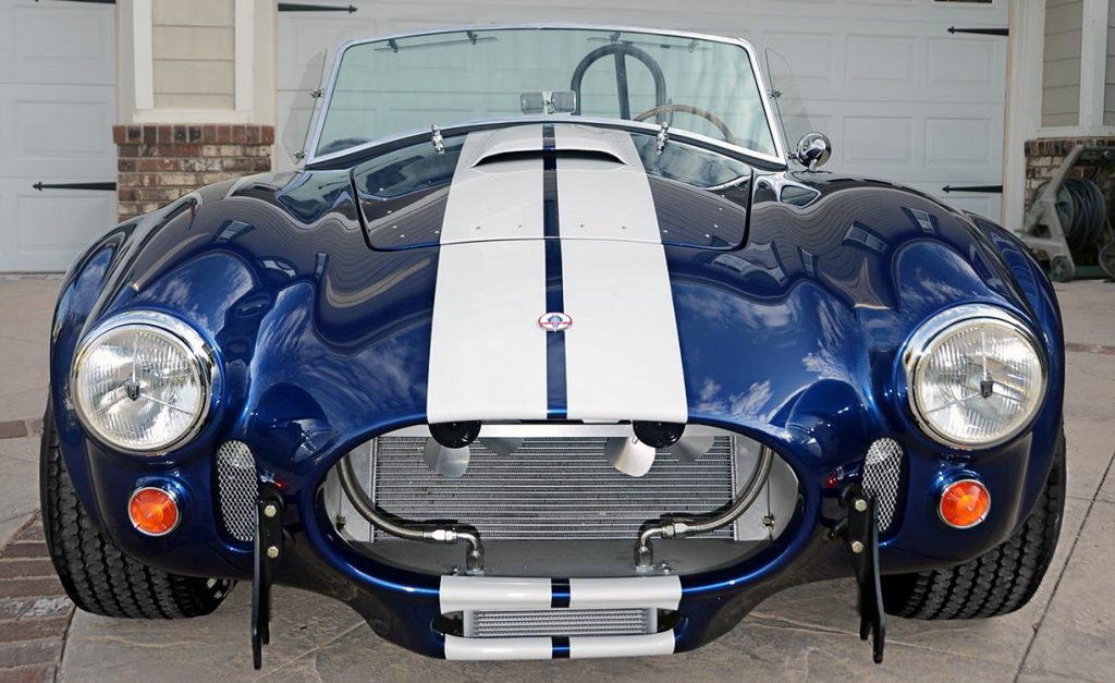 head-on frontal shot of Viper Blue Hurricane Motorsports 427SC Shelby classic Cobra replica for sale by owner