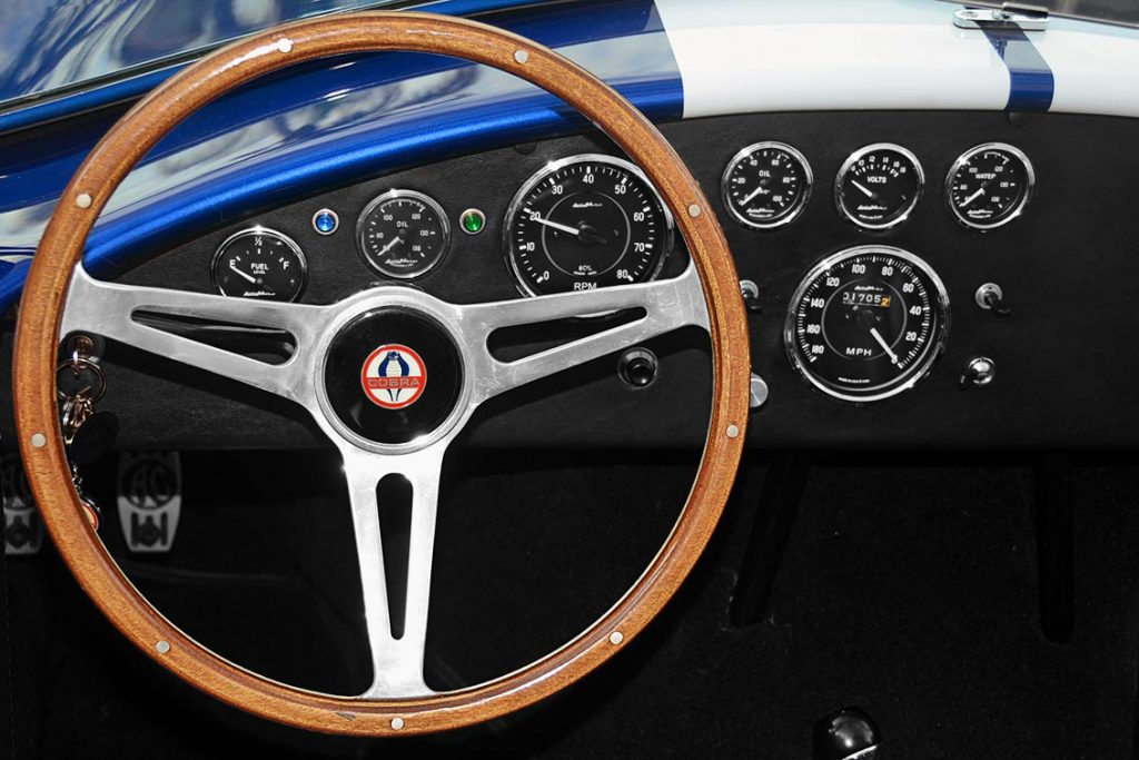 dashboard shot (from driver position) of Viper Blue Hurricane Motorsports 427SC Shelby classic Cobra replica for sale by owner