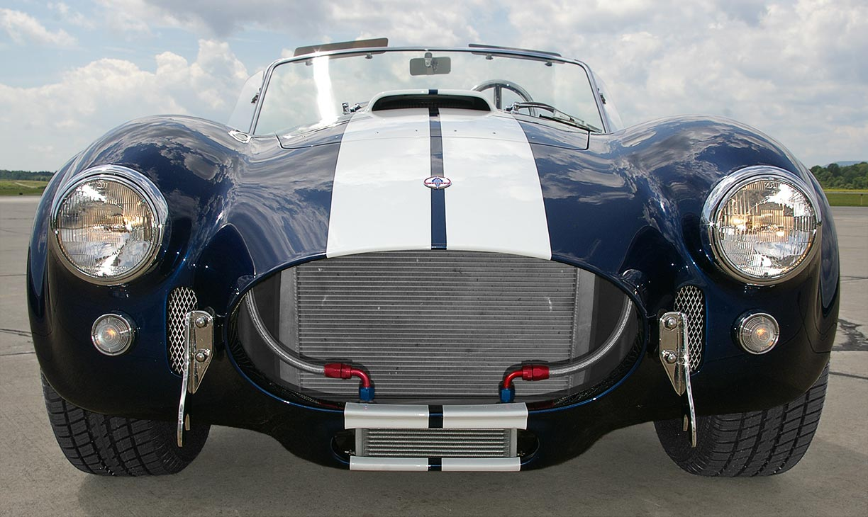 head-on frontal shot (driver side) of Royal Blue Metallic 427SC Shelby classic Superformance Cobra SPO2432, for sale by owner