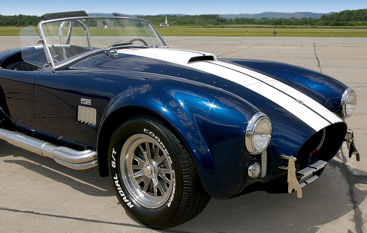rear-quarter shot (passenger side) of Royal Blue Metallic 427SC Shelby classic Superformance Cobra SPO2432, for sale by owner