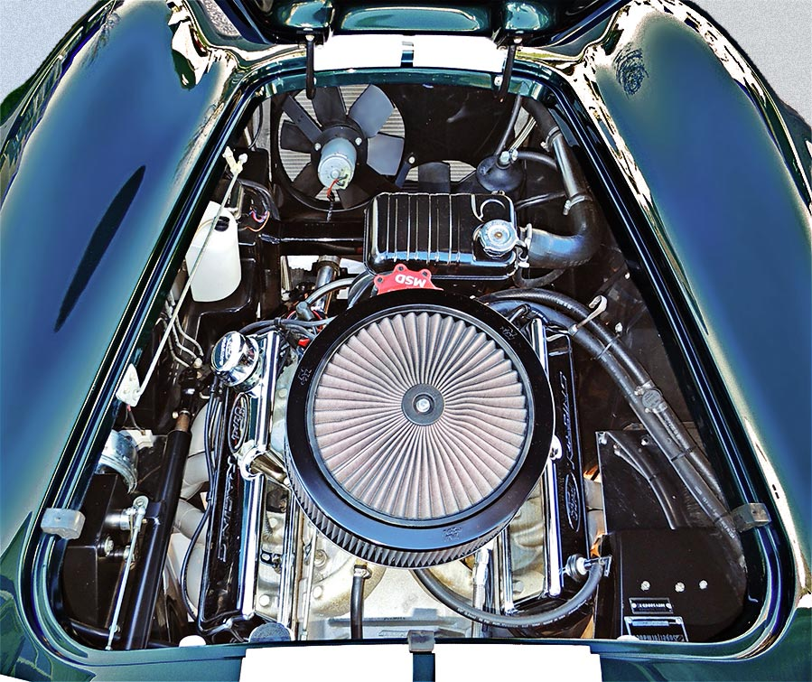 overhead photo of Ford Racing stroker Windsor engine in this Malachite Green Superformance 427SC Cobra for sale, SPO1310