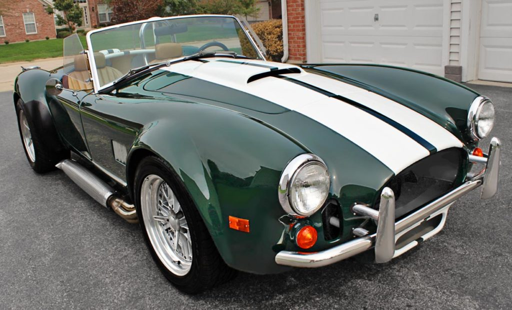 3/4-frontal shot (passenger side) of BRG (British Racing Green) Excalibur 427SC Shelby classic Cobra for sale