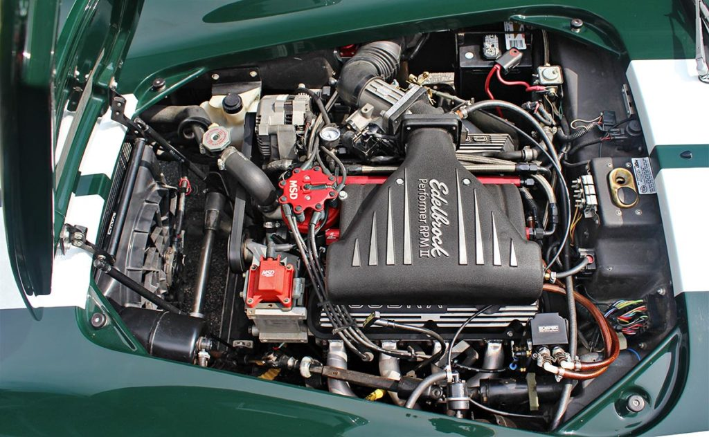 engine photo of BRG (British Racing Green) Excalibur 427SC Shelby classic Cobra for sale