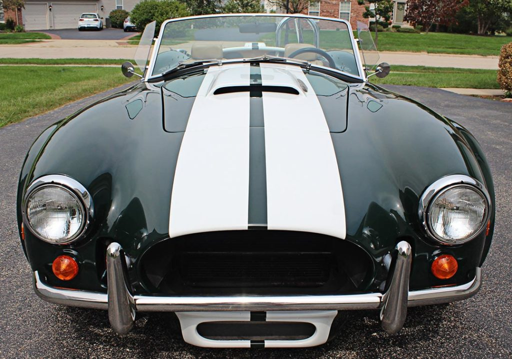head-on frontal shot#1 of BRG (British Racing Green) Excalibur 427SC Shelby classic Cobra for sale