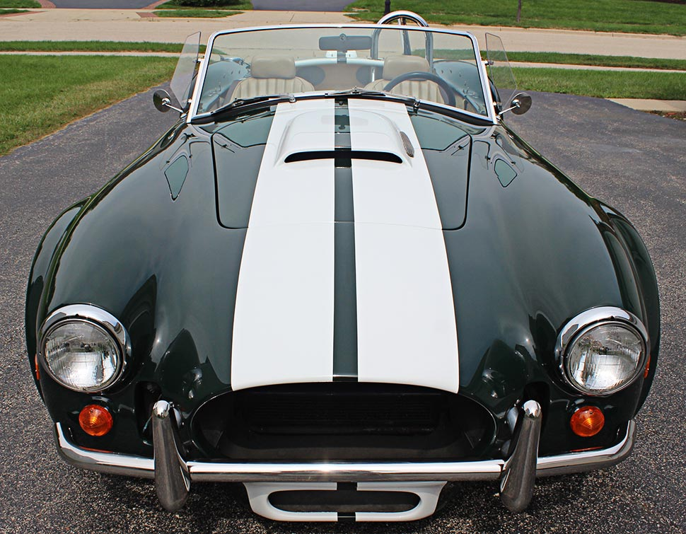head-on frontal shot#2 of BRG (British Racing Green) Excalibur 427SC Shelby classic Cobra for sale