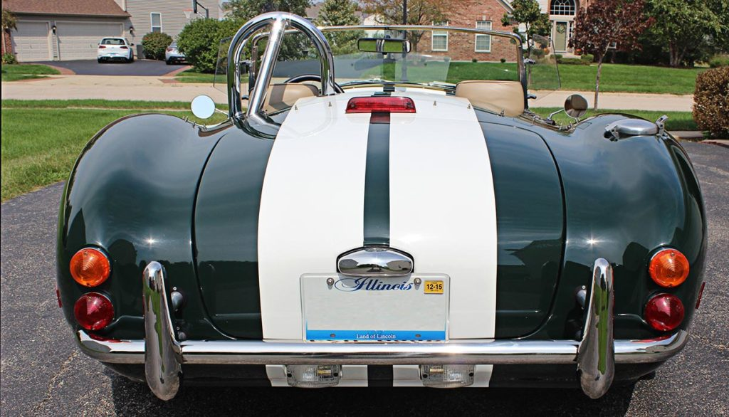 head-on rear shot#1 of BRG (British Racing Green) Excalibur 427SC Shelby classic Cobra for sale